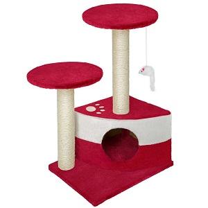 Arbre à chat avec griffoir et grattoir rouge